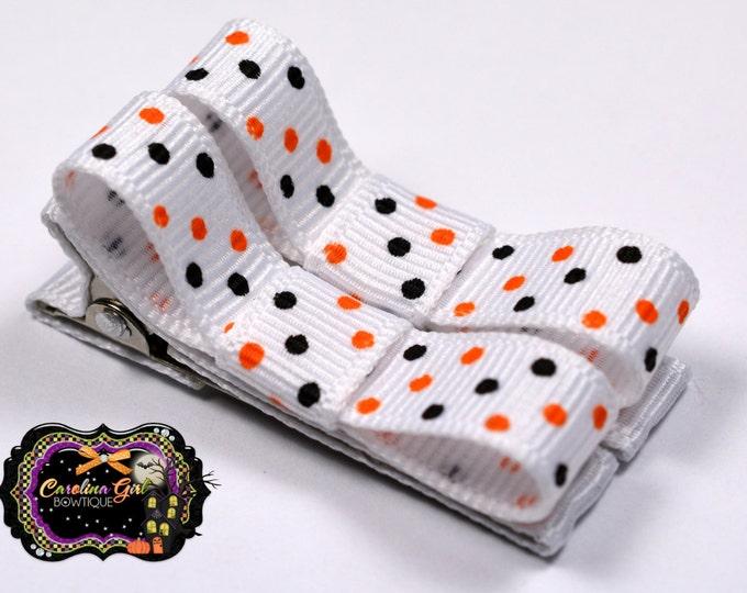 Halloween Dots Hair Clips Basic Tuxedo Clips Alligator Non Slip Barrettes for Babies Toddler Girl Set of 2
