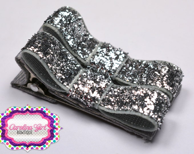 Choose 5 Glitter Hair Clips Basic Tuxedo Clips Alligator Non Slip Barrettes for Babies Toddler Girl