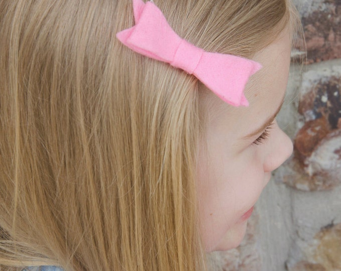 "Hot Pink Felt Tuxedo Bow  ~3"" Hairbow ~Small Bow ~Girls Barrette ~Toddler Bow ~ Baby Hair Bow ~ Hair Clip ~ Girls Hair Bow"