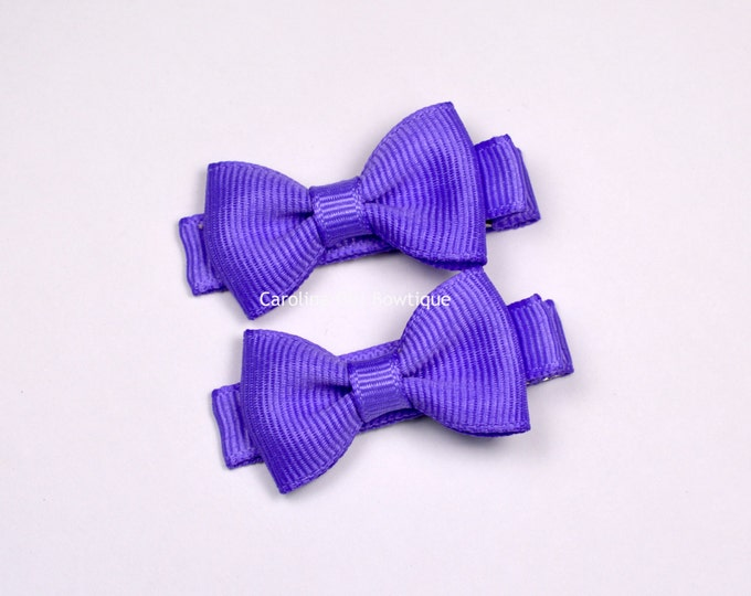 Dark Orchid Hair Bow Set of 2 Small Hairbows - Girls Hair Bows - Clippies - Baby Hair Bows ~ No Slip Grip always added