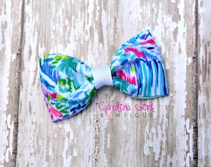 "Salt in the Air ~ 3"" Hair Bow Tuxedo Bow ~ Lilly Inspired ~ Simple Bow ~ Boutique Bow for Babies Toddlers ~ Girls Hair Bows"