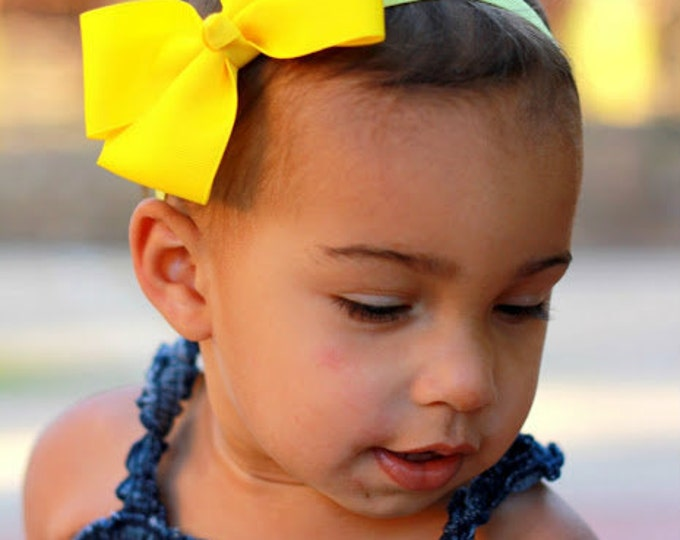 Yellow  Bow Band - Yellow  Bow on an Elastic Headband Baby Infant Toddler - Girls Hair Bows