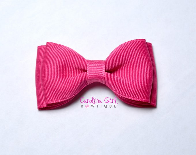 "Shocking Pink Stacked Hair Bow ~ 3.5"" Hairbow ~ Small Hair Bow ~ Girls Barrette ~ Toddler Bow ~ Baby Hair Bow ~ Hair Clip ~ Girls Hair Bow"