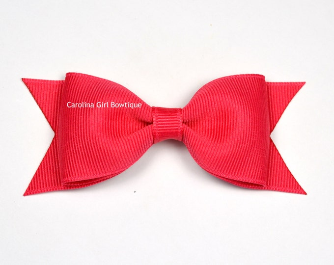 "French Pink Tuxedo Bow  ~ 3.5"" Hairbow ~ Small Hair Bow ~ Girls Barrette ~ Toddler Bow ~ Baby Hair Bow ~ Hair Clip ~ Girls Hair Bow"