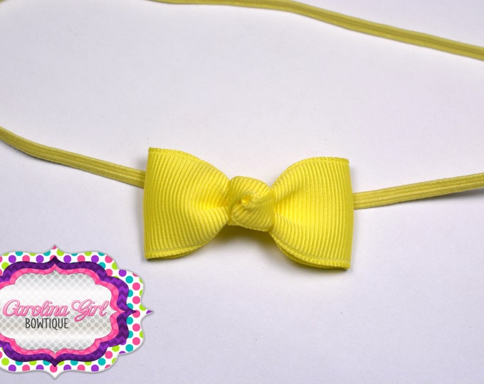Maize Newborn Headband - Small Headband withTiny Bow on Skinny Elastic - Girls Hair Bows