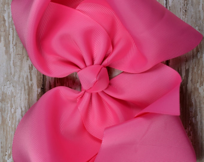 6 in. Hot Pink Boutique  Hair Bow - XL Hair Bow - Big Hair Bows - Girl Hair Bows