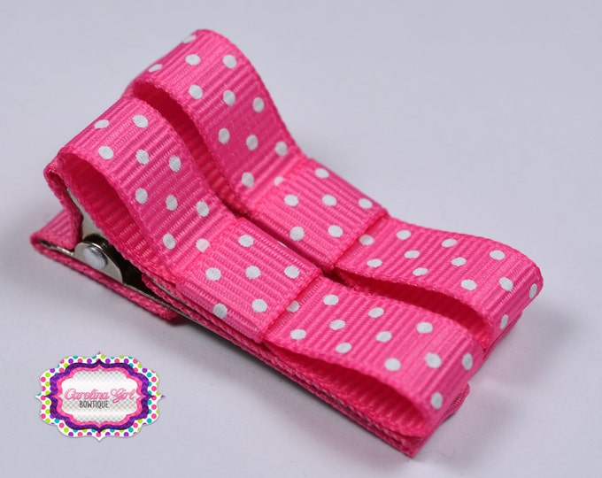 Hot Pink Dots Hair Clips Basic Tuxedo Clips Alligator Non Slip Barrettes for Babies Toddler Girl Set of 2