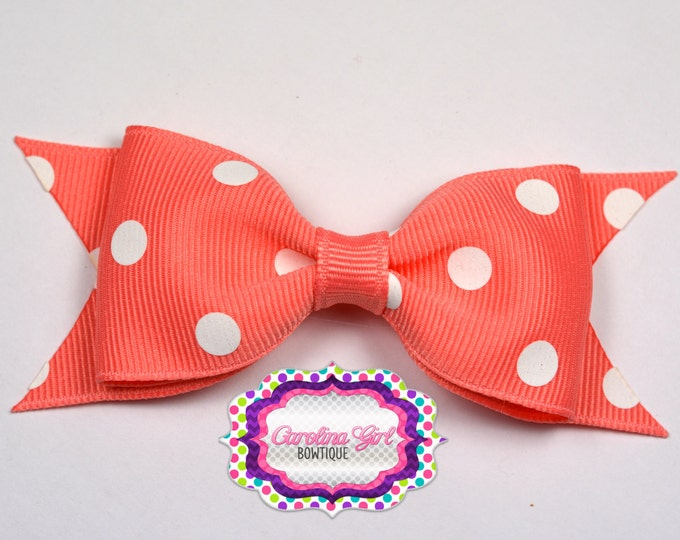 "Coral Dots Tuxedo Bow ~ 3.5"" Hairbow ~ Small Hair Bow ~ Girls Barrette ~ Toddler Bow ~ Baby Hair Bow ~ Hair Clip ~ Girls Hair Bow"
