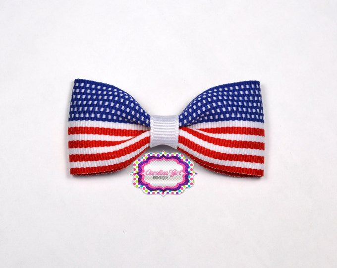 "Patriotic 3"" Hair Bow Tuxedo Bow Simple Bow Boutique Bow for Babies Toddlers Girls Hair Bows"
