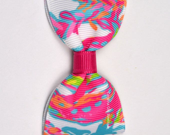 """Scuba to Cuba ~ 3"""" Hair Bow Tuxedo Bow ~ Lilly Inspired ~ Simple Bow ~ Boutique Bow for Babies Toddlers ~ Girls Hair Bows"""