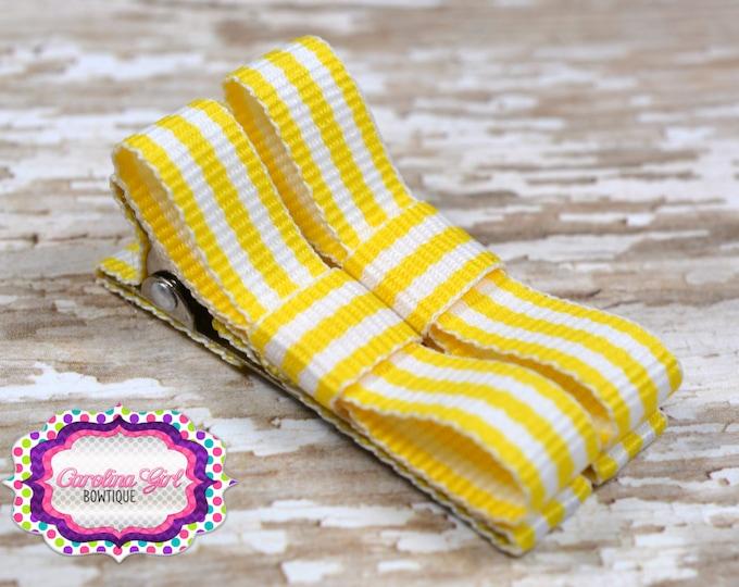 Yellow Striped Hair Clips Basic Tuxedo Clips Alligator Non Slip Barrettes for Babies Toddler Girl Set of 2
