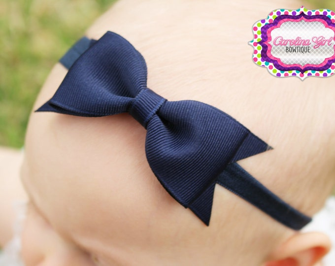 "Navy Tuxedo Bow Headband  ~ 3.5"" Hairbow ~ Small Hair Bow ~ Girls Headband ~ Toddler Bow ~ Baby Hair Bow ~ Hair Clip ~ Girls Hair Bow"