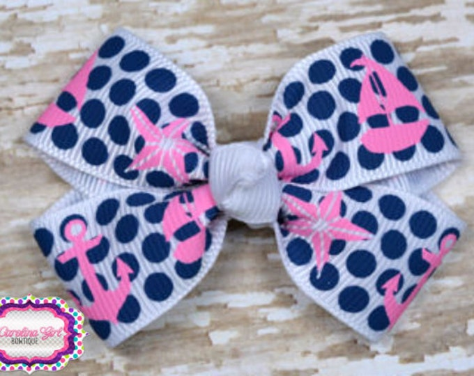 Sail Boats on Dots Hair Bow 2.5 Inch Pinwheel Boutique Hair Bow for Babies Toddlers Girls Hair Bows
