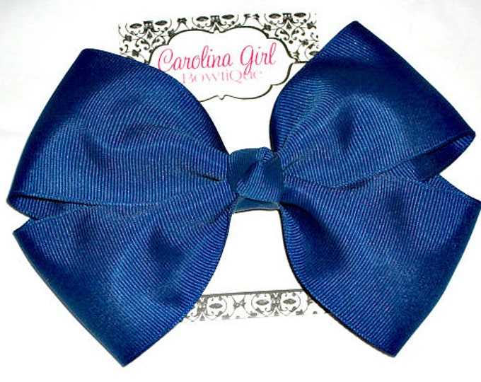 6 in. Royal Blue Hair Bow - XL Hair Bow - Big Hair Bows - Girl Hair Bows