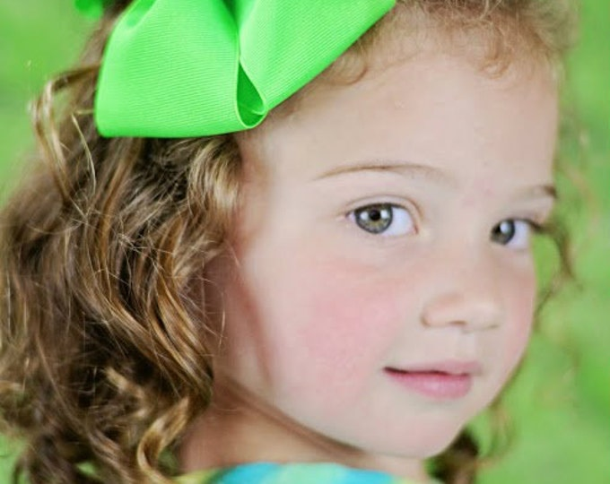 6 in. Neon Green Hair Bow - XL Hair Bow - Big Hair Bows - Girl Hair Bows