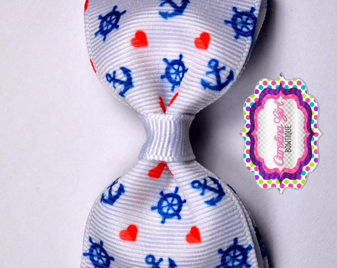 "Anchors & Wheels ~ 3.5"" Bow ~ No Slip  ~ Girls Barrette ~ Toddler Bow ~ Baby Hair Bow ~ Hair Clip ~ Girls Hair Bow"