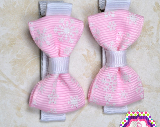 Pink Snowflake Hair Bow Set of 2 Small Hairbows - Girls Hair Bows - Clippies - Baby Hair Bows - Mini Hair Bow Sets