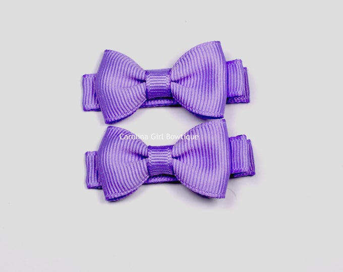 Light Orchid Hair Bow Set of 2 Small Hairbows - Girls Hair Bows - Clippies - Baby Hair Bows ~ No Slip Grip always added