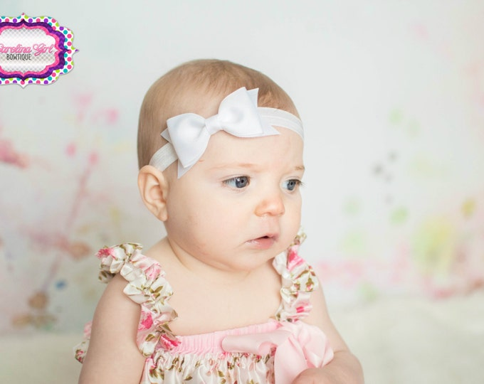 "White Tuxedo Bow Headband  ~ 3.5"" Hairbow ~ Small Hair Bow ~ Girls Headband ~ Toddler Bow ~ Baby Hair Bow ~ Hair Clip ~ Girls Hair Bow"