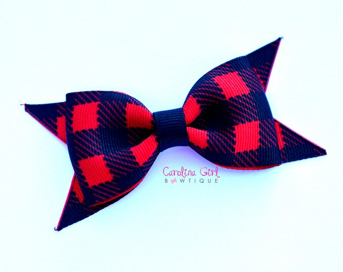 "Buffalo Plaid Tuxedo Hair Bow ~ 3.5"" Hairbow ~ Small Hair Bow ~ Girls Barrette ~ Toddler Bow ~ Baby Hair Bow ~ Hair Clip ~ Girls Hair Bow"