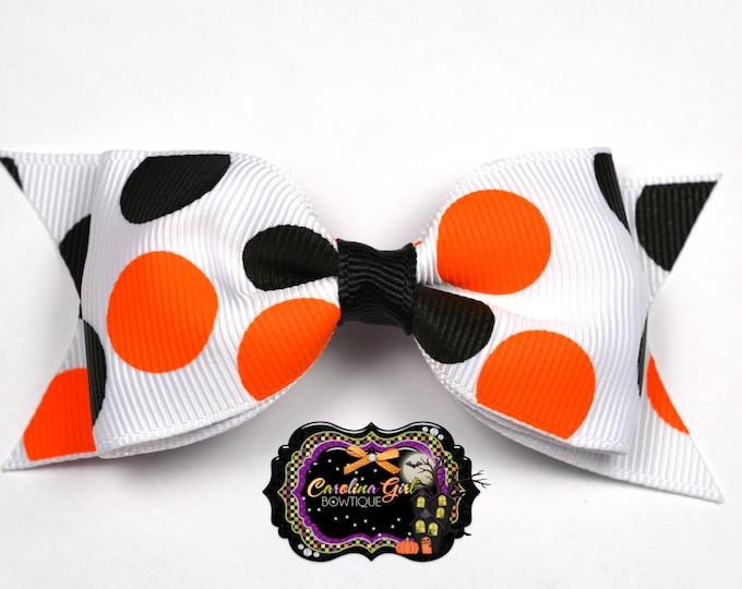 "Halloween Dots Tuxedo Bow ~ 3.5"" Hairbow ~ Small Hair Bow ~ Girls Barrette ~ Toddler Bow ~ Baby Hair Bow ~ Hair Clip ~ Girls Hair Bow"