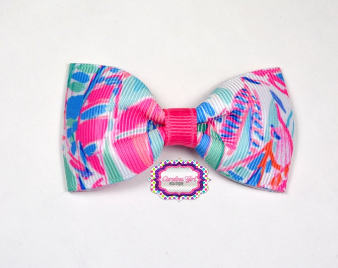 """Out to Sea ~ 3"""" Hair Bow Tuxedo Bow ~ Lilly Inspired ~ Simple Bow ~ Boutique Bow for Babies Toddlers ~ Girls Hair Bows"""