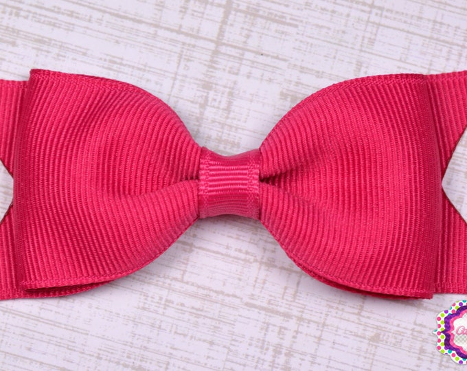"Shocking Pink Tuxedo Bow  ~ 3.5"" Hairbow ~ Small Hair Bow ~ Girls Barrette ~ Toddler Bow ~ Baby Hair Bow ~ Hair Clip ~ Girls Hair Bow"