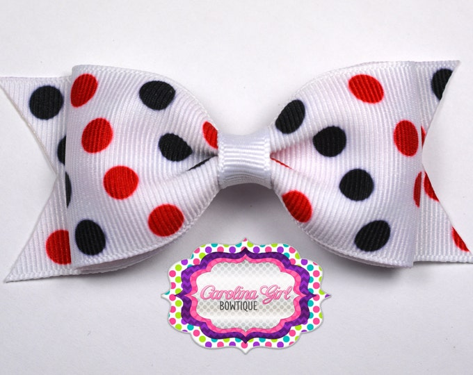 "Geogia Inspired Dots Tuxedo Bow ~ 3.5"" Hairbow ~ Small Hair Bow ~ Girls Barrette ~ Toddler Bow ~ Baby Hair Bow ~ Hair Clip ~ Girls Hair Bow"