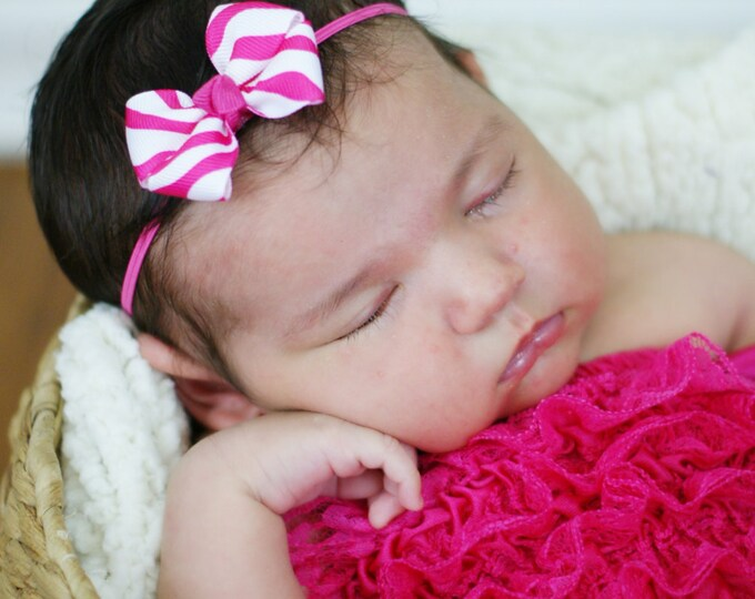 Shocking Pink Zebra Newborn Headband - 2 in. Bitty Bow on an Elastic Headband - Girls Hair Bows - Baby Headband