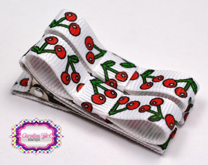Cherry Hair Clips Basic Tuxedo Clips Alligator Non Slip Barrettes for Babies Toddler Girl Set of 2