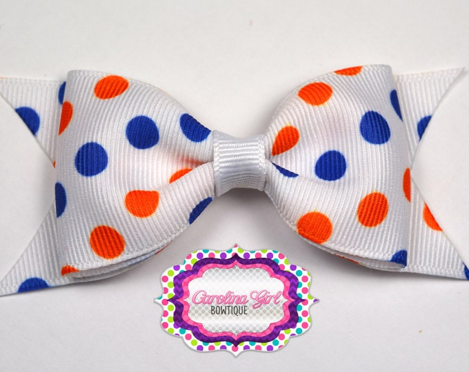 "Florida Inspired Dots Tuxedo Bow ~ 3.5"" Hairbow ~ Small Hair Bow ~ Girls Barrette ~ Toddler Bow ~ Baby Hair Bow ~ Hair Clip ~ Girls Hair Bow"