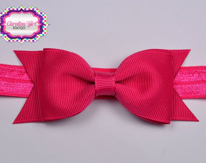 "Shocking Pink Tuxedo Bow Headband ~3.5"" Hairbow ~ Small Hair Bow ~ Girls Headband ~ Toddler Bow ~ Baby Hair Bow ~ Hair Clip ~ Girls Hair Bow"