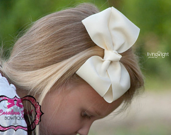 6 in. Ivory Hair Bow - XL Hair Bow - Big Hair Bows - Girl Hair Bows