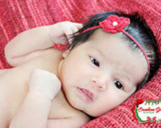 Red Crochet Flower Headband Infant Headband - Girls Hair Band - Headband