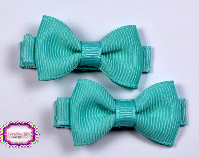 Aqua Hair Bow Set of 2 Small Hairbows - Girls Hair Bows - Clippies - Baby Hair Bows