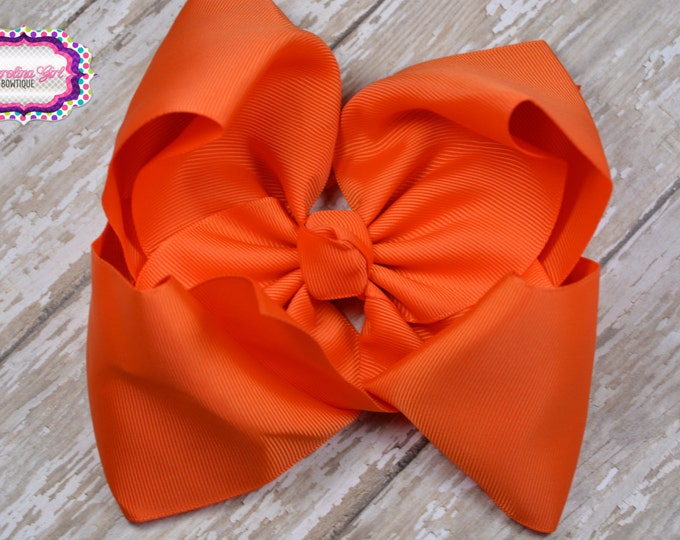 6 in. Orange Boutique Hair Bow - XL Hair Bow - Big Hair Bows - Girl Hair Bows