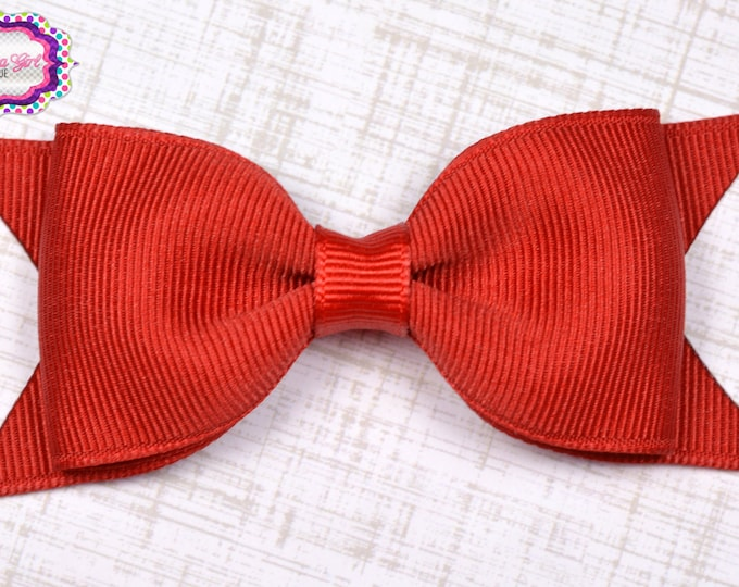 "Red Tuxedo Bow  ~ 3.5"" Hairbow ~ Small Hair Bow ~ Girls Barrette ~ Toddler Bow ~ Baby Hair Bow ~ Hair Clip ~ Girls Hair Bow"