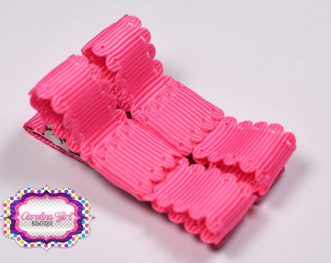 Hot Pink Scalloped Edge Hair Clips Basic Tuxedo Clips Alligator Non Slip Barrettes for Babies Toddler Girl Set of 2