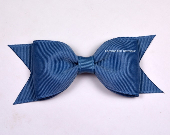 "Williamsburg Blue Tuxedo Bow ~ 3.5"" Hairbow ~ Small Hair Bow ~ Girls Barrette ~ Toddler Bow ~ Baby Hair Bow ~ Hair Clip ~ Girls Hair Bow"