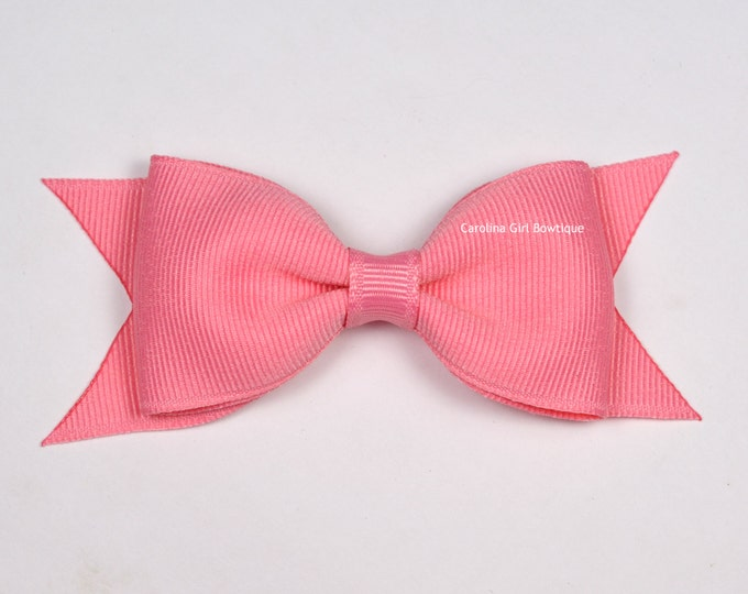 "Old Rose Tuxedo Bow ~ 3.5"" Hairbow ~ Small Hair Bow ~ Girls Barrette ~ Toddler Bow ~ Baby Hair Bow ~ Hair Clip ~ Girls Hair Bow"