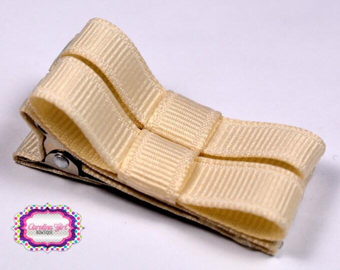 Ivory Hair Clips Basic Tuxedo Clips Alligator Non Slip Barrettes for Babies Toddler Girl Set of 2