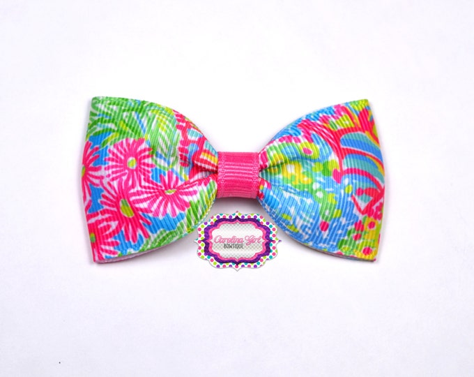 "Lilly Pulitzer Hair Bow ~ Multi Lovers Coral ~ 3"" Hair Bow Tuxedo Bow ~ Lilly Inspired ~ Boutique Bow for Babies Toddlers ~ Girls Hair Bows"