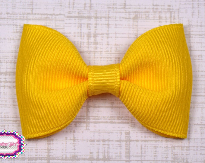 "Yellow Tuxedo Bow  ~ 2.5"" Hairbow ~ Small Hair Bow ~ Girls Barrette ~ Toddler Bow ~ Baby Hair Bow ~ Hair Clip ~ Girls Hair Bow"