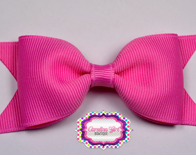 "Pixie Pink Tuxedo Bow ~ 3.5"" Hairbow ~ Small Hair Bow ~ Girls Barrette ~ Toddler Bow ~ Baby Hair Bow ~ Hair Clip ~ Girls Hair Bow"