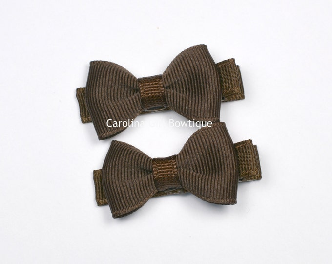 Mini Hair Bows ~ Brown Hair Bow Set of 2 Small Hairbows - Girls Hair Bows - Clippies - Baby Hair Bows ~ No Slip Grip always added