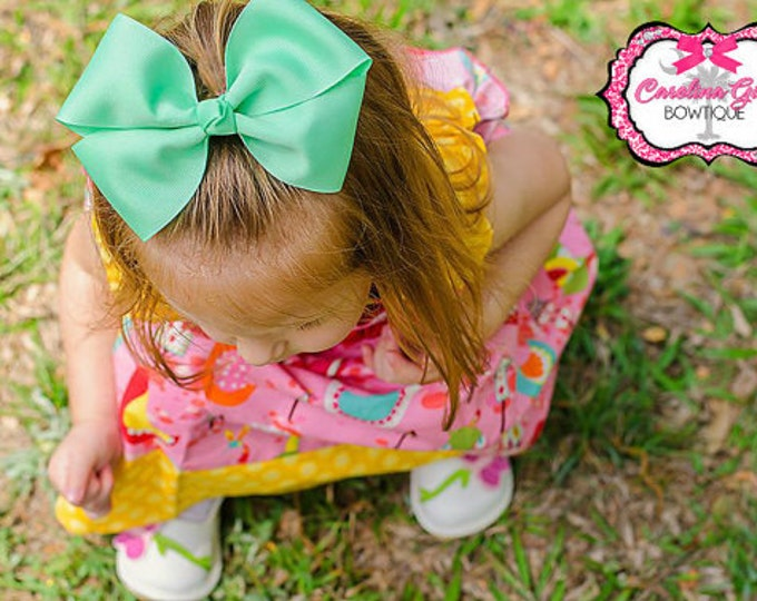 6 in. Mint Hair Bow - XL Hair Bow - Big Hair Bows - Girl Hair Bows