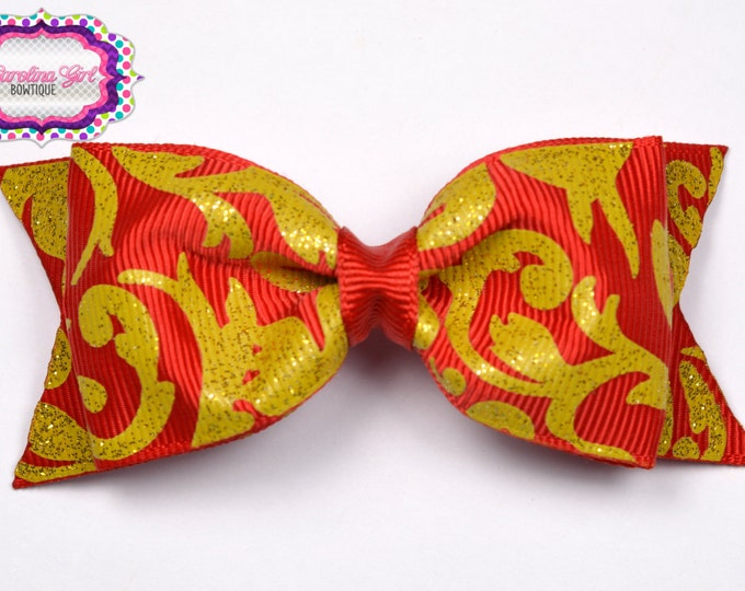 "Red w/ Gold Damask Tuxedo Bow ~ 3.5"" Hairbow ~ Small Hair Bow ~ Girls Barrette ~ Toddler Bow ~ Baby Hair Bow ~ Hair Clip ~ Girls Hair Bow"