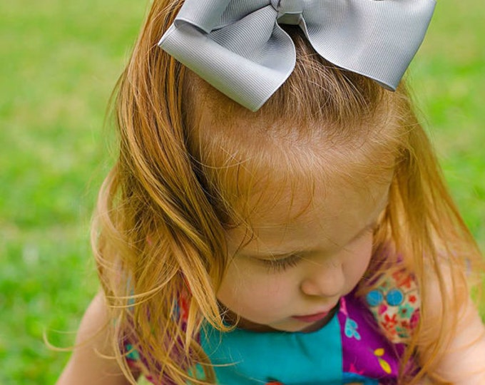 6 in. Silver Hair Bow - XL Hair Bow - Big Hair Bows - Girl Hair Bows