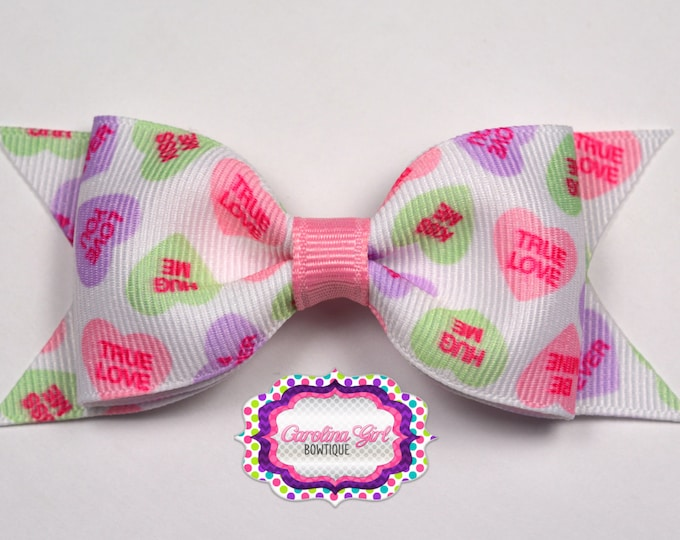 "Converstion Hearts Bow ~ 3.5"" Bow ~ No Slip ~ Small HairBow ~ Girls Barrette ~ Toddler Bow ~ Baby Hair Bow ~ Hair Clip ~ Girls Hair Bow"