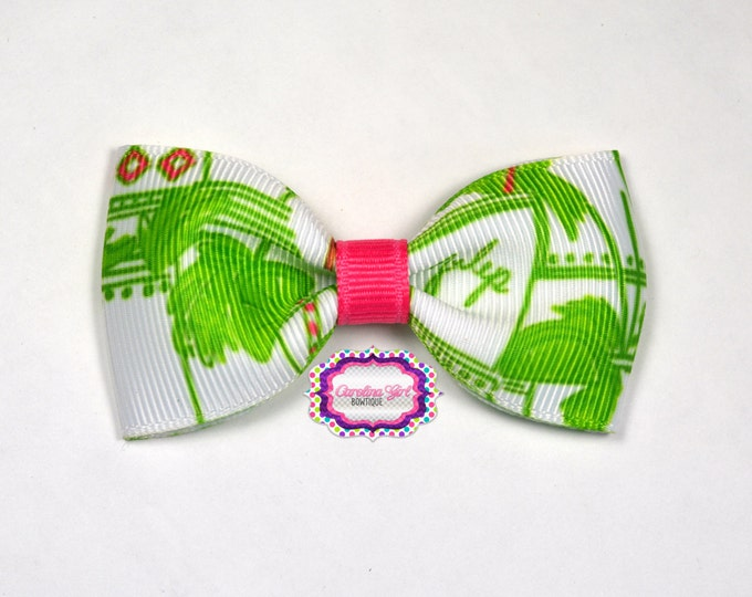 "Just Add Mint Julep ~ 3"" Hair Bow Tuxedo Bow ~ Lilly Inspired ~ Simple Bow ~ Boutique Bow for Babies Toddlers ~ Girls Hair Bows"